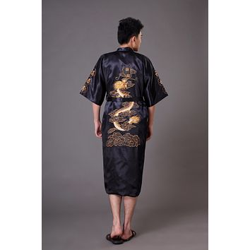 Novelty Reversible Men's Kimono Bathrobe Gown Chinese Style Satin Bath Robe Embroidery Dragon Sleepwear S M L XL XXL XXXL MP075