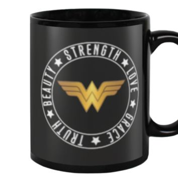 Wonder Woman Strength, Love, Grace, Truth, and Beauty Coffee Mug