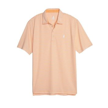 Bunker Striped Prep-Formance Polo in Tangerine by Johnnie-O