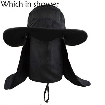 Whichinshower Wide Large Brim Sun Block Fishing Hat Face Neck Protection Summer Sun Cap Mountain Climbing Bucket Hat With String