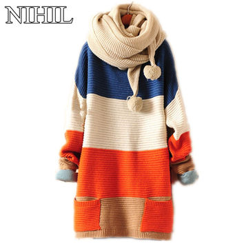 Pathwork Women's Knitted Sweaters 2016 New Fashion Long-Sleeve O-Neck Clothing Ladies Pockets Loose Pullovers Colorful Knitwear