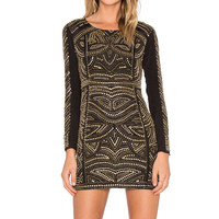 Karina Grimaldi Rock Beaded Dress in Black