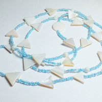Triangle Mother of Pearl Beaded Necklace with Light Blue Glass