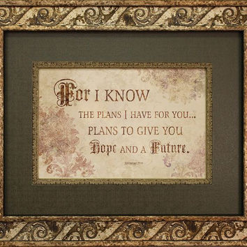 For I Know The Plans 22x18 Framed Art