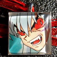 1.5 Inch Diameter Inuyasha - Demon Blood - Glass Pendant Charm made from Trading Cards
