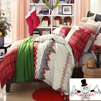 Red Checkered Snowflake Christmas Bedding and Quilt Cover Set