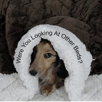DOG BEDS -  Chocolate Quilted Minky Fur snuggle Sack- Cats - Pets - Includes Embroidered Personalization