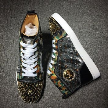 Cl Christian Louboutin Rhinestone Mid Strass Style #1913 Sneakers Fashion Shoes - Best Online Sale