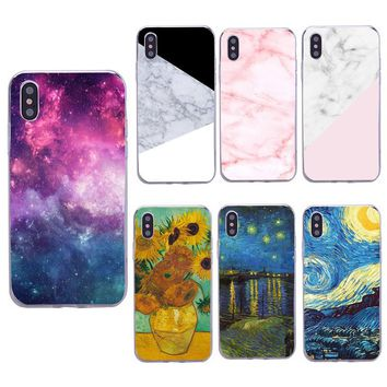 Case For iPhone 6s 6 7 Plus 8 Plus Transparent Soft Silicone TPU Cover Van Gogh Starry Night Cases For iPhone 5s 5 SE X Capa