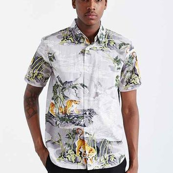Stussy Bamboo Tiger Button-Down Shirt- White