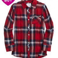 EMBELLISHED POCKET PLAID BUTTON UP | GIRLS TOPS CLOTHES | SHOP JUSTICE