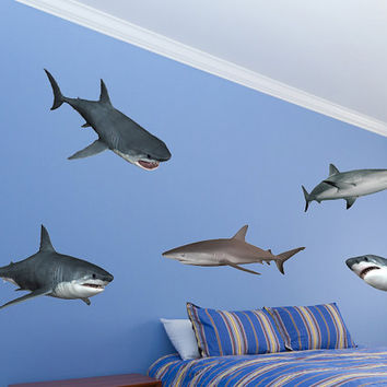 Shark Wall Decal Set - Great white shark wall stickers Boys bedroom wall stickers by WallJems Wall Decals