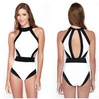 Black White Bodysuit One Pieces Jumpsuit Swimsuit Women Bordered Padded Bra Swimwear Bathing Suit Beach Wear S5530