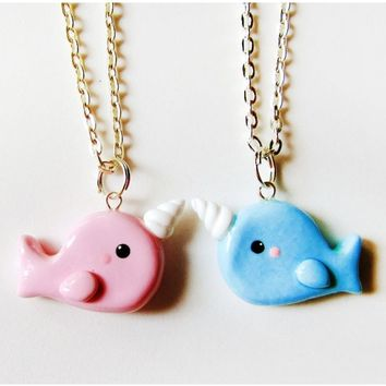 Best Friends Pink and Blue Narwhal Necklaces - The Sweetest Gift for Your Bff