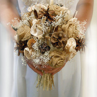 "8"" Medium Size, Country Wedding Bouquet, Burlap and Babies Breath Bridal or Bridesmaid Bouquet."