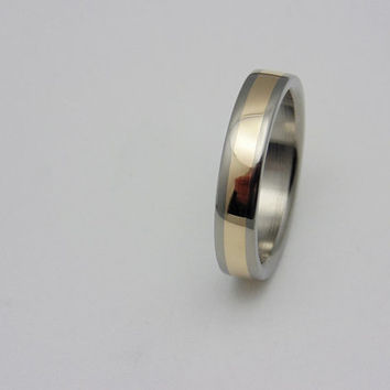 Womens Gold and Titanium wedding band, solid 14k gold inlay Handmade