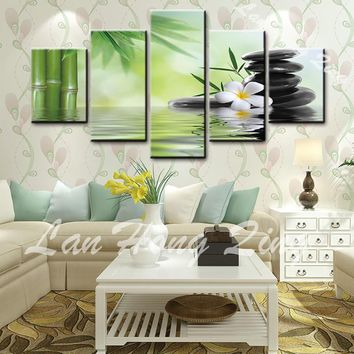 5 Pieces Canvas Printed Bamboo Water Cobblestone Modular Painting Wall Art Paint Spring Decoration Poster No Framed 580-3
