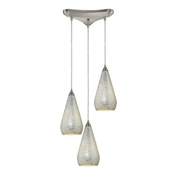 546-3SLV-CRC Curvalo 3 Light Pendant In Satin Nickel And Silver Crackle Glass - Free Shipping!