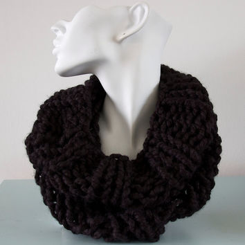 Black Cowl Chunky Knitted Infinity Scarf Bulky Wool by Emma Dickie Design