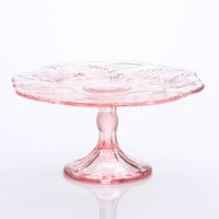 "DEPRESSION GLASS INSPIRED PINK CAKE STAND (11"")"