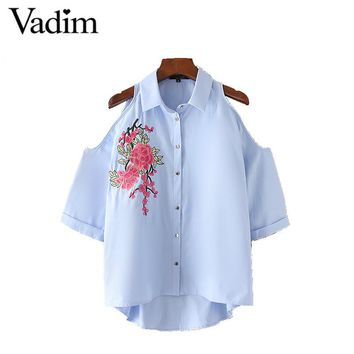 Women sexy off shoulder flower embroidery shirts cut out oversized loose blouse three quarter sleeve casual tops blusas LT1794