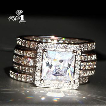 3pcs YaYI Jewelry Fashion  Princess Cut 4.6  CT White Zircon Silver Color Engagement Rings wedding Set Rings Party Rings
