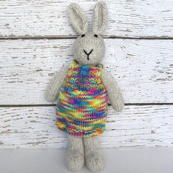 "Tall Hand Knit Bunny Rabbit in Neon Dress - Baby Girl Shower Gift - Knit Animal Toy - Plush Doll Stuffed Animal Toy - Bunny Doll 15"" Tall"