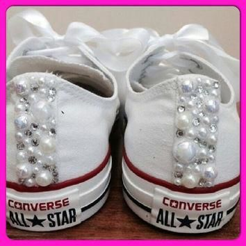 Pearl Converse and Wedding Converse / Vans / Nike / Pumps Silver Swarovski Diamonte /