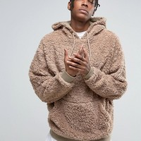 ASOS Oversized Hoodie In Borg at asos.com
