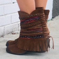Naughty Monkey Sun Riser Genuine Suede Tan Braided Fringe Ankle Boot