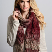 Ombre Cable Knit Scarf - Maroon