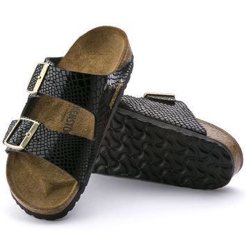 Sale Birkenstock Arizona Birko Flor Shiny Snake Black 1000258 Sandals