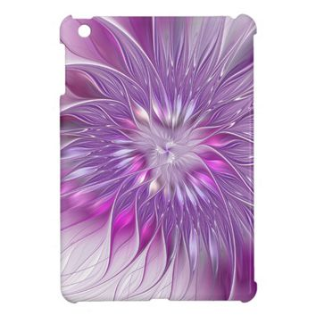 Pink Purple Flower Passion Abstract Fractal Art iPad Mini Cases