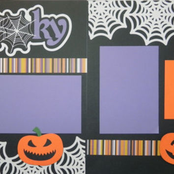 Halloween Handmade Premade 12X12 2-Page Scrapbook Page Layout-Spooky