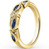 "Kirk Kara ""Dahlia"" Marquise Shaped Blue Sapphire Diamond Wedding Band"
