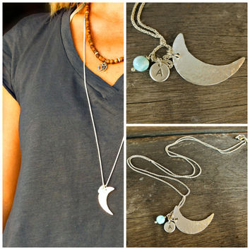 Sterling silver moon necklace, initial, personalized Sterling silver 925 long necklace - simple modern jewelry