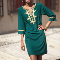 Short Kaftan Dress,Emerald green Moroccan Kaftan, Gold embroidery, Mini Dress, Available in Small Medium Large