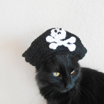 Cat Pirate Hat- Knit Cat Hat- Cat Halloween Costume - Pet Halloween Costume - Cat Photo Prop - Cat Christmas Present - Small Dog Pirate Hat