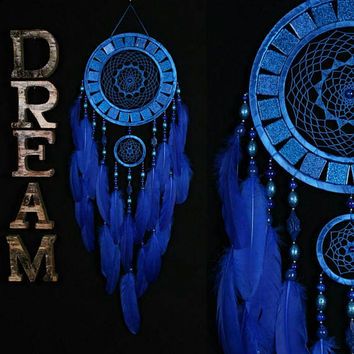 Dreamcatcher blue Dreamcatcher mosaic wall native american Large BLUE Dreamcatchers boho Indian talisman gift wall hanging boho blue decor