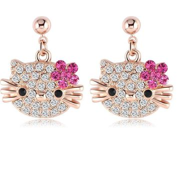 LZESHINE Christmas Gift Costume Jewelry Cat Flower Stud Earring Girls  Rose Gold Plate Austrian Full Crystal  Earing