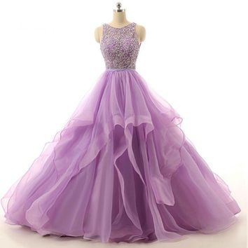 Sample Lilac Ball gown Beaded Puffy Organza Special occasion long prom dresses
