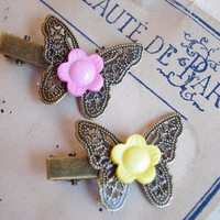 Flower butterfly Hair clips, Vintage Button hair Pin, romantic Hair jewelry, cute hairstyle
