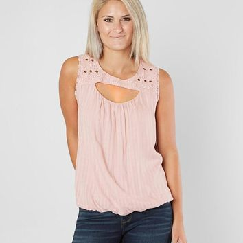 Coco + Jaimeson Cut-Out Woven Tank Top - Women's Tank Tops in Creme De Rose | Buckle