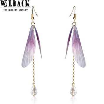 Welback Fashion Jewelry Classic Vintage Insect Party Style Butterfly Wing Freshwater Pearl Long Pendant Tassels Drop Earrings
