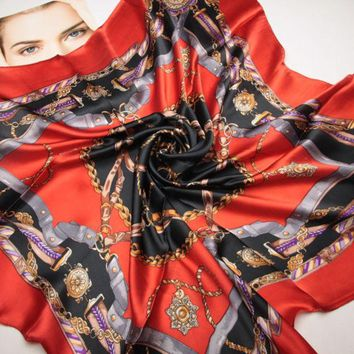 LMFU3C 90cm*90cm The new chain belt splicing women H spring silk scarves large square scarf