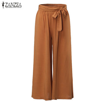 Wide Leg Vintage Elastic Waist Cotton Oversize Trousers