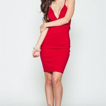 Bite My Style Lace Back Red Midi Dress