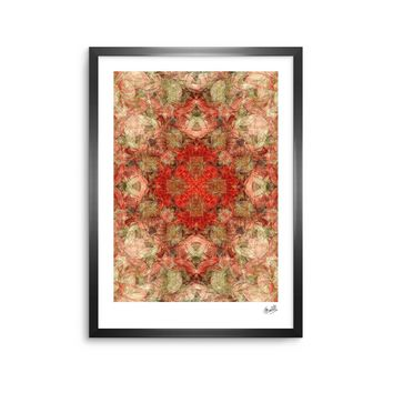 "Justyna Jaszke ""Mandala Love Art"" Red Pastel Abstract Pattern Digital Illustration Framed Art Print"