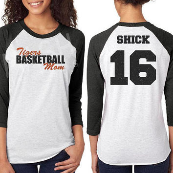 Custom Glitter Basketball Mom Raglan tee, basketball 3/4 sleeve raglan, mom basketball shirt, personalized basketball, grandma, sister, gift