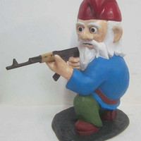 Combat Garden Gnome in kneeling position with AK47 by thorssoli